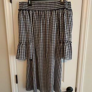 Gingham navy & white off the shoulder dress
